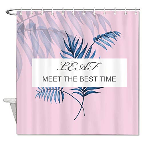TattyaKoushi Shower Curtains Hotel Quality Pink Meet The Best Time Funny Decor Bathroom,Farmhouse,Country Rustic,Washable and Waterproof Set with 12 Hooks 72 x 72 Inch