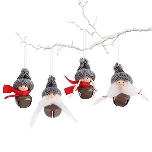 Adornos navideños con campana,mini colgante sueco gnomo colgante adorable decoración árbol Navidad,adornos felpa Santa Elf,adornos muñeco elfo para árbol Navidad, chimenea,decoración hogar,4 piezas