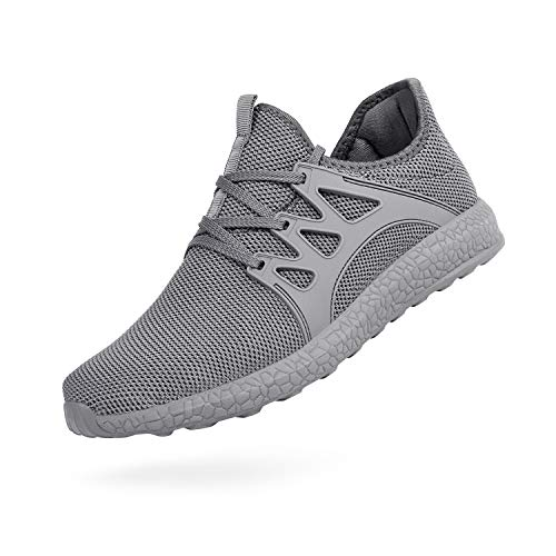 Troadlop Womens Non Slip Running Shoes Air Knitted Lightweight Breathable Mesh Sneakers Athletic Gym Sports Walking Shoes,Grey 7 US M