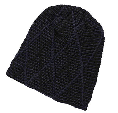 Roffatide Winter Beanie Hut für Damen Fleece Gefüttert Lose Beanie Bunte Waffel Strick Ski Radfahren Beanie Skull Cap Blau
