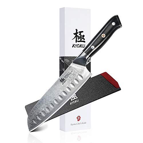 KYOKU Daimyo Series - Damascus Chef Knife - Japanese VG10 Steel - with Sheath & Case (Santoku Knife 7')
