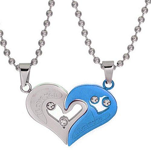 Uloveido Un par de Collares de Medio corazón para él y para Ella Conjunto de Collar de Parejas de Acero Inoxidable Regalos para Novio y Novia (Azul) SN102