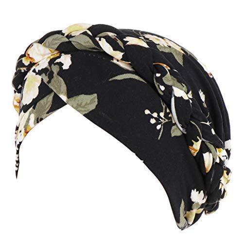 LuminitA Women's Vintage Hat Muslim Ruffle Ethnic Style Embroidery Flowers Bandanas Print Beanie Turban Caps Black
