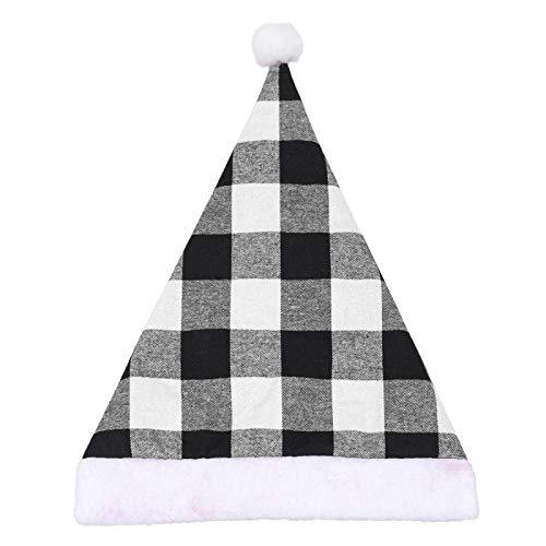 Sombrero De Navidad Sombrero De Santafelpa Navideña Sombrero De Papá Noel Fiesta Para Niños Adultos Accesorios De Celebración De Nochebuena Familiar Sombrero De Papá Noel A Cuadros Negro Y Rojo-Segund