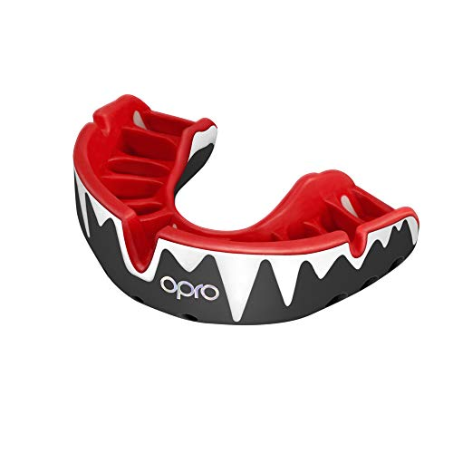 OPRO Platinum Level Mouthguard | Gum Shield for Rugby, Hockey, Boxing, and Other Contact Sports - 18 Month Dental Warranty (Black/Red/White)