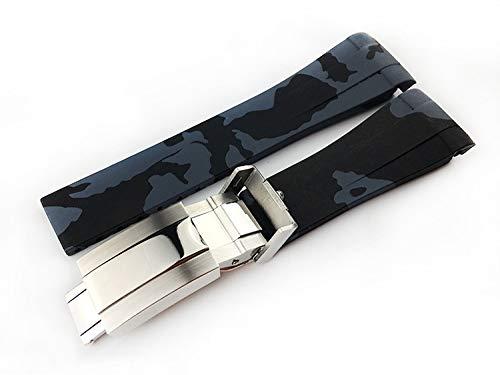 ROUHO 20 Mm Bogenport Camouflage Silikongurt Herrengurt Für Rolex Submariner Daytona GMT-Grau