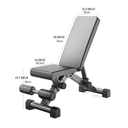 KFK Weight Bench Adjustable Full Body Workout Foldable Incline Decline Exercise Workout Bench for Home Gym