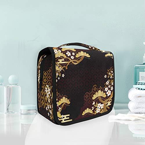 Trousse de Toilette Vintage à Motif Floral Sakura - Trousse de Toilette de Voyage à Suspendre - Sac de Rangement Multifonction pour Femme et Fille