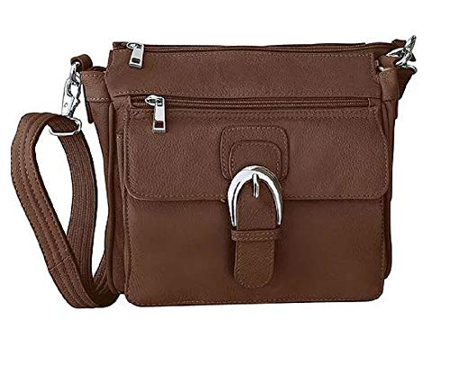Roma Leathers Leather Concealed Carry Cross Body Gun Purse Left or Right Hand W/Holster-Brown, Medium