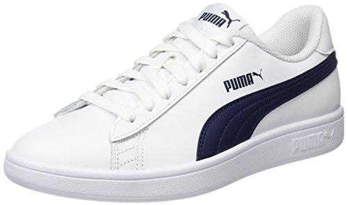 PUMA Smash v2 L, Zapatillas Unisex Adulto, White-Peacoat, 43 EU