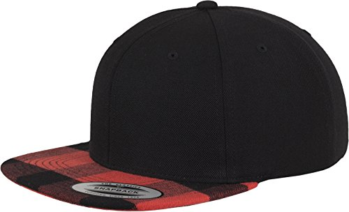 Flexfit Mütze Checked Flanell Peak Snapback, blk/red, One size, 6089FP-00044-0050
