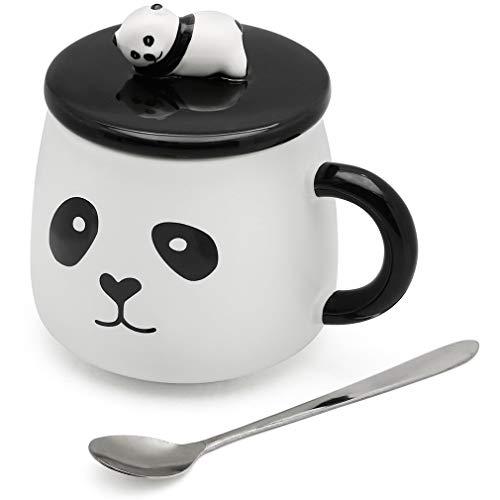 SATYAM KRAFT Ceramic Panda Printed Mug with Lid and Spoon - 1 Piece,White Cup, 450 ml