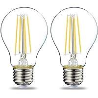 AmazonBasics Bombilla LED Esférica E27 con Filamento, 7W (equivalente a 60W), Blanco Cálido - 2 unidades