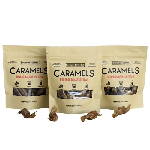Shotwell Bourbon & Maple Pecan Caramel Candy (3 Pack)– Gourmet Caramel Candy Individually Wrapped & Small Batch– Maple Syrup Candy Caramels – Smooth & Creamy Gluten Free Candy (7.5oz Total)