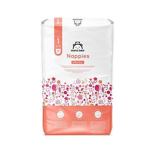 Amazon-Marke: Mama Bear - 48 Ultra-Dry Windeln - Größe 1 (2-5 kg) - 1 Pack x 48