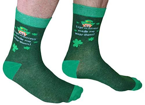 """Carrolls Irish Gifts Grüne irische Socken mit dem Text """"Leprechaun Made Me Wear them"""""""