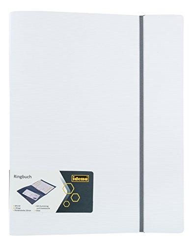 Idena 10354 - Ringbuch, Polypropylen, 2-Ringmechanik mit Gummizug, weiß/grau