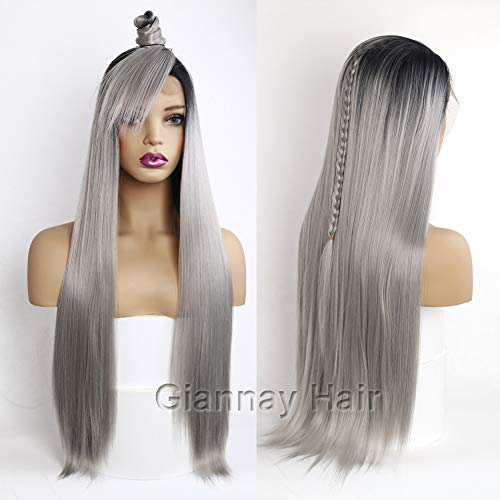 Giannay Hair Ombre Gray Dark Roots Lace Front Wigs Long Natural Straight Silver Grey Replacement Hair Wigs for Women Heat Resistant Fiber Hair Half Hand Tied 26 Inches