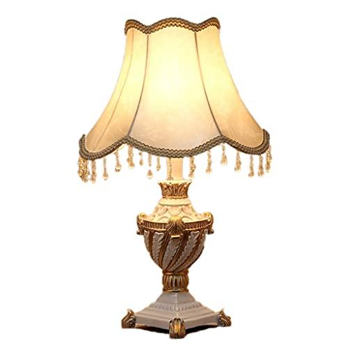 ZHAOSHOP Lámpara de Mesa Lujosa, lámparas de mesita de Noche con Tela de Lino, lámpara de Mesa de Noche Moderna, lámparas de mesita de Noche de diseño novedoso, con Regulable para Dormitorio, café.