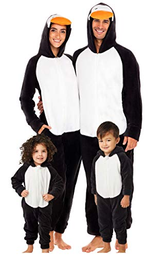 Alexander Del Rossa Women's Warm Fleece One Piece Footed Pajamas, Adult Onesie with Hood, Small Penguin Non-footed (A0322PENSM)