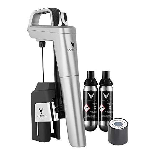 Coravin - Model Six Core Wein Konservierungssystem - 2 Gas Patronen and Schraubverschluss - Silber