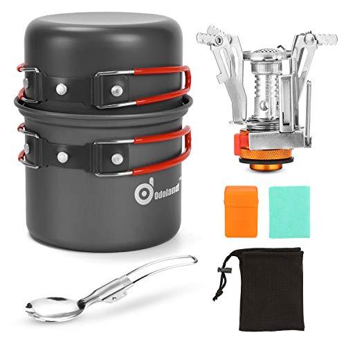 Odoland Camping Geschirr Set 6-teiliges kochset inkl. Aluminium Camping Töpfe, Mini Campingkocher für Schraubkartusche, Faltbare Besteck u. Reinigungstücher…