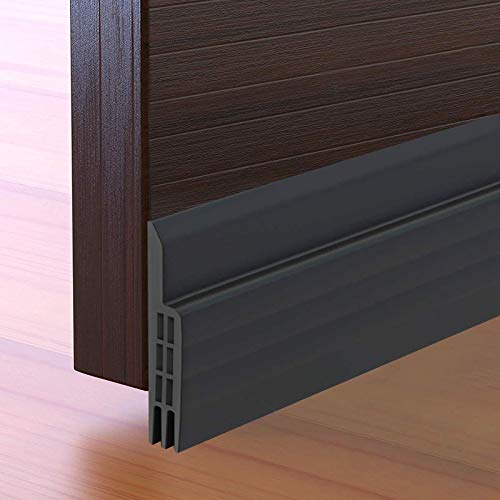 Door Draft Stopper Under Door Seal for Exterior/Interior Doors, Door Sweep Strip Under Door Draft Blocker, Soundproof Door Bottom Weather Stripping, 2' W x 39' L, Black