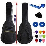 YMC Waterproof Dual Adjustable Shoulder Strap Guitar Gig Bag 5mm Padding Backpack with Accessories(Picks, Pick holder, Strap Lock, String Winder) -