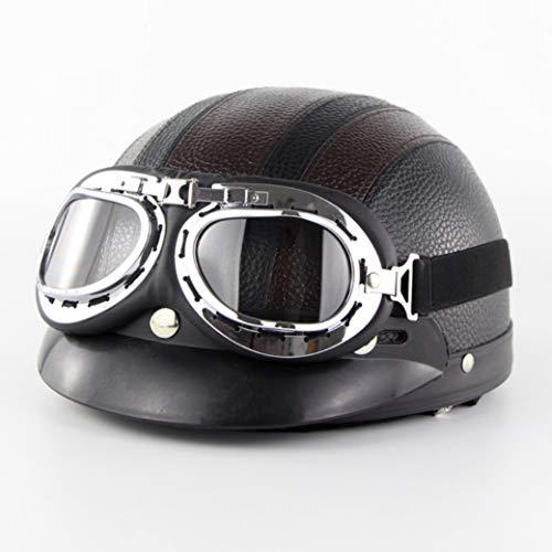 OLEEKA Cascos para adultos para Harley Motocicleta Retro Half Cruise Helmet Motocross Casco Vintage Moto