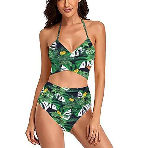 Bikinis Mujer Push Up 2021 Bañadores Estampado Sexy Moda Estampado Traje de Baño Bañador Ropa de Dos Piezas Halter Top Cintura Alta Trajes de Baño