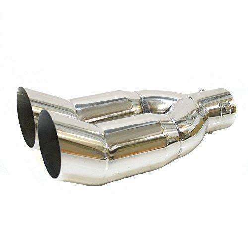 Autohobby 8389 Doppel Auspuffblende Auspuff Universell Schalldämpfer Doppelendrohr Sport Sportauspuff Endrohr Endrohrblenden Blende Edelstahl bis 56mm Chrom A B C G H J CC 3 4 5 6 7