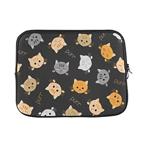 INTERESTPRINT Laptop Sleeve Case Cute Cats Kawaii Joyful Pets Neoprene Protective Bag 11 Inch 11.6 Inch