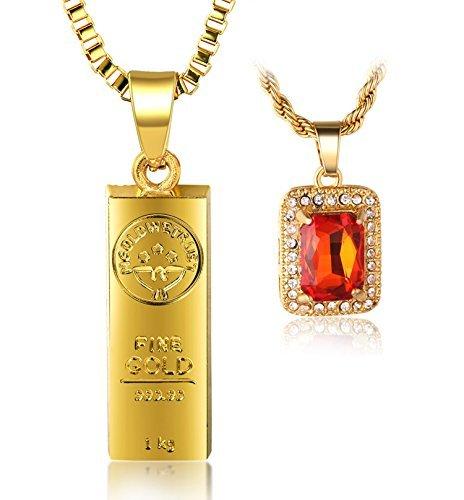 Halukakah  In Gold We Trust  Hombres 18K Oro Verdadero Plateado Barra de Oro Rubi Rojo Colgante Collar 2 Conjuntos de Cadena con Cadena de Cajas 30' Cadena de Cuerda 24' Gratis