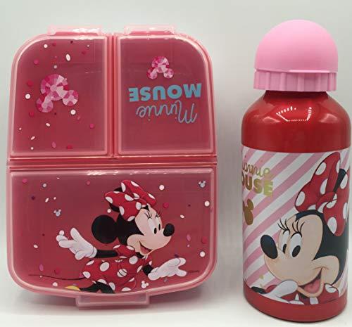 CM Set van aluminium waterfles voor kinderen en lunchbox met 3 vakken, voor meisjes, lekvrij, BPA-vrij, 400 ml (rood-min…