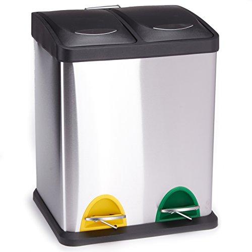 MSV Mülleimer Mülltrennsystem 16 L (2x8 Liter) mit Inneneimer große Abfallbehälter Abfalleimer Treteimer Edelstahl