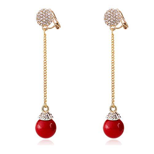 Orecchini pendenti a clip con perle finte da donna, placcati in oro, con cristallo non forato, colore: bianco e Ottone, colore: Rosso, cod. cl0023