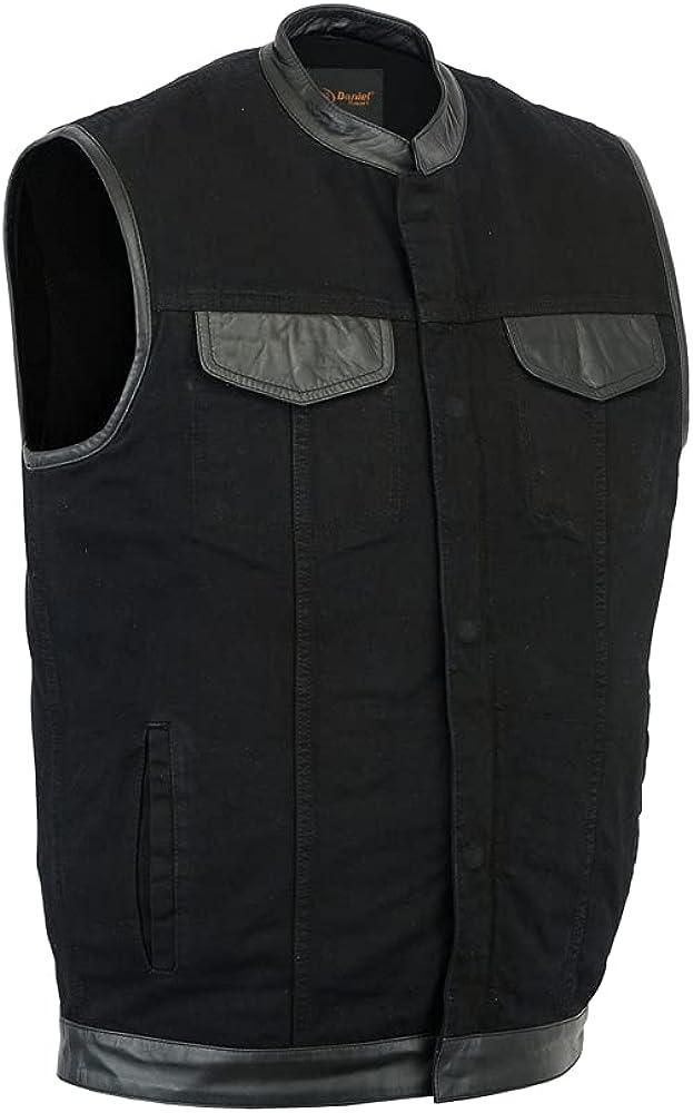 Men's Black Denim Single Panel Concealment Vest W/Leather Trim