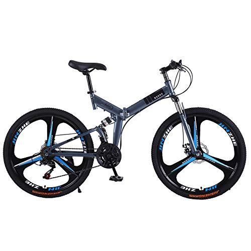 TOUNTLETS 26-Inch Adult Mountain Bikes, Folding Bike Anti-Slip Cruiser Bicycles for Mens,Silver