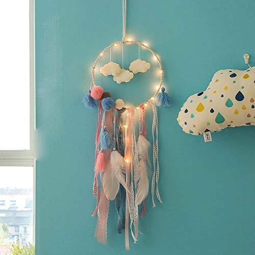 Nachtlicht,FeiliandaJJ Traumfänger Wolken Feder Nachtlichter Wand Hängend Home Decor Nacht Lampe für Kinder Baby Schlafzimmer Wohnzimmer Geburtstag Geschenk (A)