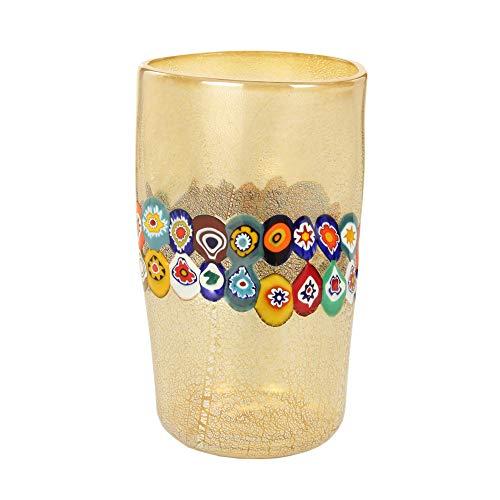 Vaso Moderno Vetro di Murano Color Champagne cilindrico con murrine millefiori Direttamente da fornace