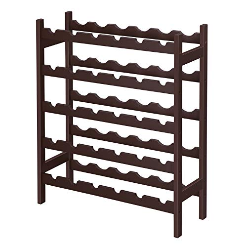SONGMICS Bamboo Wine Rack, 5-Tier Storage Shelf, Holds 30 Bottles, Freestanding Display Stand Shelves, Wobble-Free, Espresso UKWR25BR