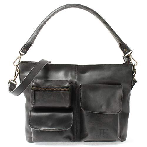 LECONI Schultertasche Ledertasche für Damen Vintage-Look echtes Leder Natur großer Shopper Lederhandtasche für DIN A4 Damentasche Frauen Handtasche 39x27x10cm dunkelgrau LE0062-buf