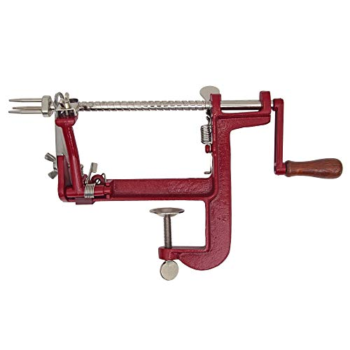 Johnny Apple Peeler Cast Iron Clamp Base, Apple Slicer, Corer, Parer & Pie maker, Red