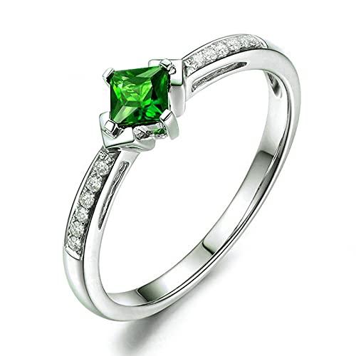 KnSam Mujer Unisex plata de ley 925 plata Prinzessschliff verde Cubic Zirconia