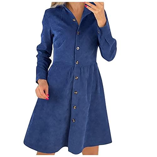 poliy Vestido de verano para mujer, de Navidad, de manga larga, con botones, camisa de pana hasta la rodilla, de un solo color., azul, XL