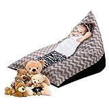 OrangeClub Sitzsack Kinder Spielzeug Stofftier Aufbewahrung Sitzsack faltbar, extra große Tasche Streifen Stuhl Sofa für Kinder (grau)