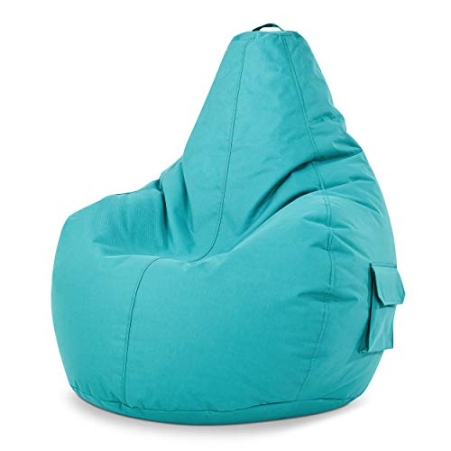 Green Bean © Cozy Beanbag, Gaming Sitzsack Sessel 80x70x90 cm, 230 Liter EPS Perlen Füllung, Indoor Gamingstuhl & Outdoor Gamer Sitzkissen, Bean Bag Lounge Chair für Kinder & Erwachsene, Türkis