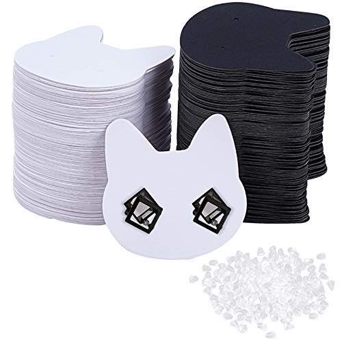 PandaHall 200 piezas (100 pares) de papel en forma de gato, juego de tarjetas para pendientes, soporte organizador de tarjetas, tarjetas de embalaje con de tuercas de plástico para pendientes de oreja