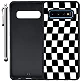 Custom Case Compatible with Galaxy S10 Plus (6.4 inch) (Checkered Flag Finish Line) Edge-to-Edge Rubber Black Cover Ultra Slim | Lightweight | Includes Stylus Pen by Innosub