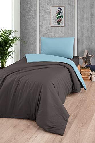 K and B - Juego de ropa de cama (135 x 200,155-200 x 220 cm, 2 piezas, 135 x 200 cm y 80 x 80 cm), color marrón y verde